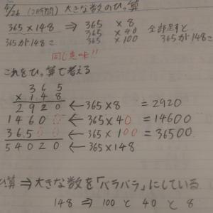 本日の授業 4年生算数 「大きな数のかけ算~筆算の仕組み、わかっているかな?~」