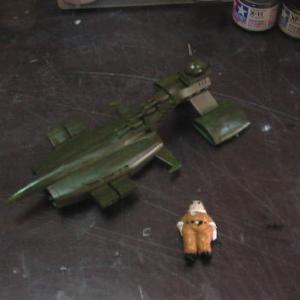 ☆ 機動戦士ガンダム 旧キット 1/1200 ムサイ&紅の豚 ロッソ塗装!