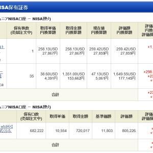 ジュニア NISA - 20 Week 29(119 週目 : +10.8 万円)x 2