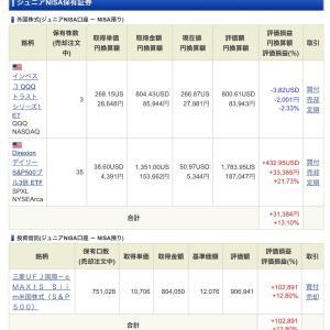 ジュニア NISA - 20 Week 38(128 週目 : +13.3 万円)x 2