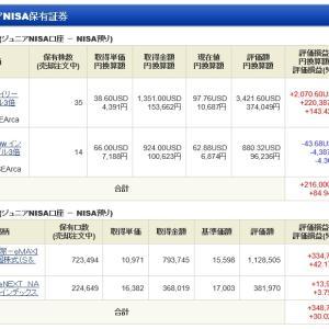 ジュニア NISA - 21 Week 21(163 週目 : +69.7 万円)x 2