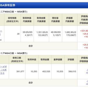 ジュニア NISA - 19 Week 33(71 週目 : +17,262 円)x 2