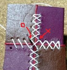革をつなぎ合わせる際のクロスステッチの縫い方 ~縫い穴ガイド用型紙つき~