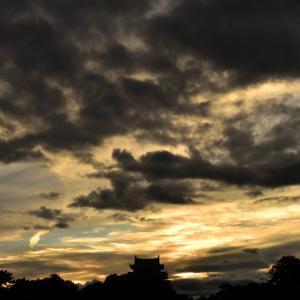 名古屋城に沈む夕陽にチャレンジ