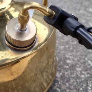 パープルストーブ501aに接続金具+L字エクステンションでフロアポンプを接続