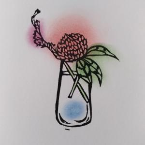 野の花 刷りと塗り