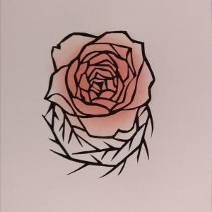 薔薇(刷りと塗り)