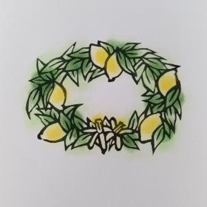 レモンのリース(刷り 塗り)
