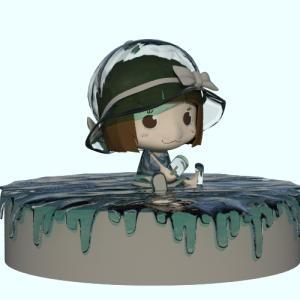 水の衣装?水の日記念にキャラクターを水の質感へ!(イラスト)