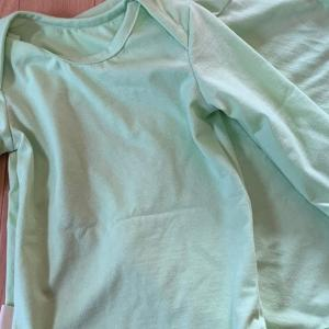 1歳8ヶ月用の長袖ロンパース90、RickRack型紙で作りました