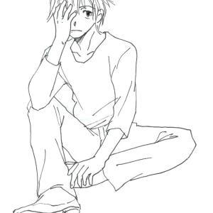 足を崩して座る男子のイラスト