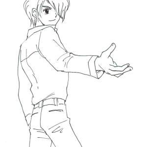 手を差し伸べる男子のイラスト