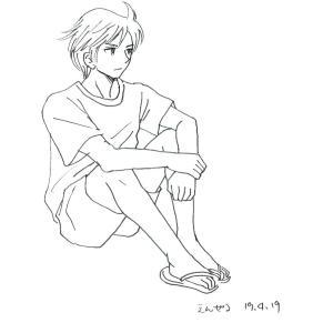 イラスト 体育座りの男の子