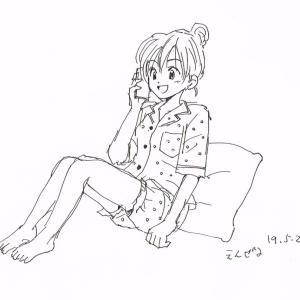 イラスト パジャマで電話する女の子