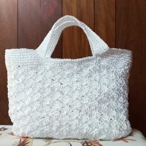 荷造りひも(ビニール紐)で編む 松編みバッグ