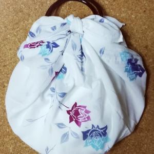 浴衣リメイク風呂敷でいちごバッグ
