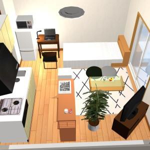 部屋8帖ワンルーム キッチンもあるし家具は何を置こうかな