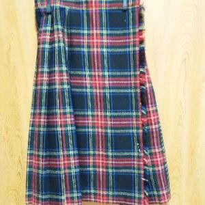 実家からお持ち帰り、ウールのキルトスカート(二枚目)