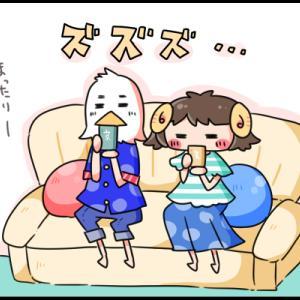 【4コマ漫画】夕食後のお茶タイムで恒例のクイズ大会