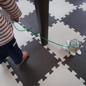 【コストゼロ・10分完成】おうち遊びであんよの練習。カメと一緒に家じゅう楽しく散歩する簡単おもちゃ