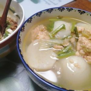 キムチ肉団子と蕪のコンソメ煮