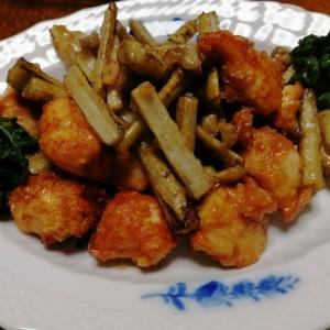 鶏肉とごぼうの甘辛揚げ炒め