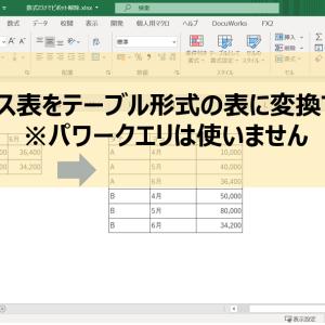 パワークエリを使わずに、関数だけでマトリクス表をテーブル形式の表に変換する方法