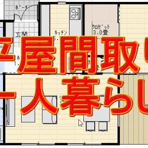 20坪1LDKの一人暮らし用の平屋の間取り図