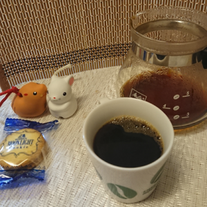 今回のコーヒーはブラジル(浅煎り)~お茶請けはクッキー~