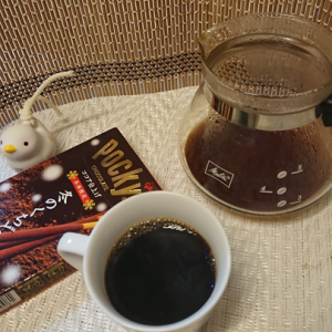 今回のコーヒーはインドネシア(中煎り)~お茶請けはポッキー~