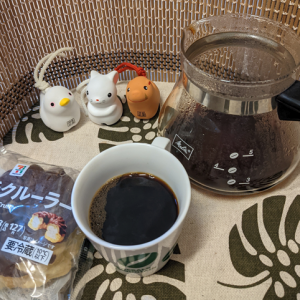 今回のコーヒーはエチオピア(中煎り)~お茶請けはフレンチクルーラー~