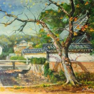 センダンの木(油彩)