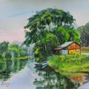 水辺の小屋