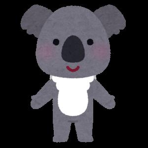 背中を合わせて仲良く食事をするコアラ