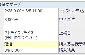 リビングプラットフォーム(7091)のIPO当落抽選結果