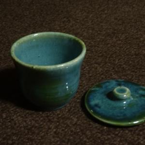 均窯釉+織部釉 湯呑