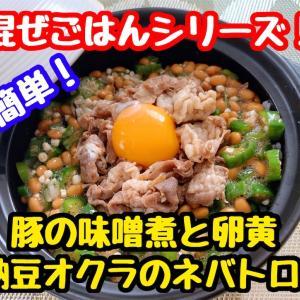 【レシピ】簡単混ぜごはんシリーズ!豚の味噌煮と納豆オクラのネバネバ!