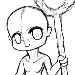 キャラクターを描くときは裸体から。しかしポーズを考えるのが難しい