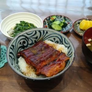 【男の料理】うな丼とモロヘイヤのシラス和え