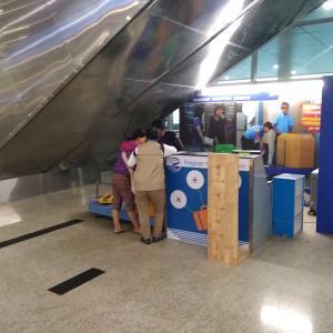 ヤンゴン空港国内線ターミナルの荷物預け所