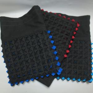 猛暑の中 6枚重ねのスラッシュキルト巾着 (^_^;)