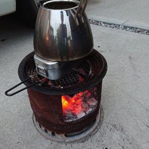 炭火で食パン