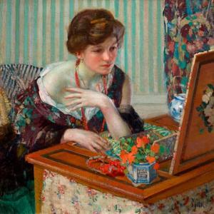 「華やかな女性の人物画家」リチャード・E・ミラー(Richard E. Miller)の絵画
