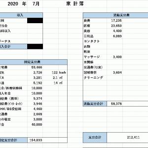 【家計簿】 2020年7月