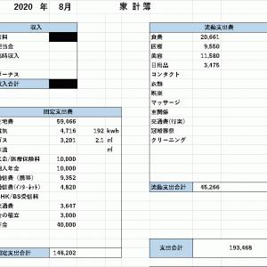 【家計簿】 2020年8月