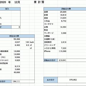 【家計簿】 2020年12月