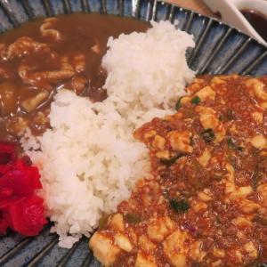 大通 ビル食堂でら マーボー豆腐&そばだしカレーあいがけ丼に2個ザンギ
