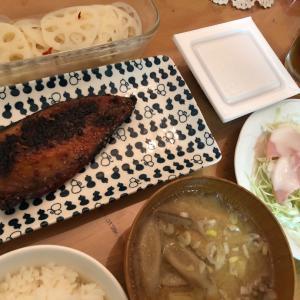晩御飯☆サバのみりん干し&お好み焼き
