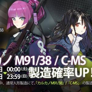 【ドルフロ】「カルカノ M91/38(妹の方)」と「C-MS」の製造確率がUP 11月16・17日