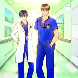 【カラー絵】お医者さんのあの青い服描いてみた